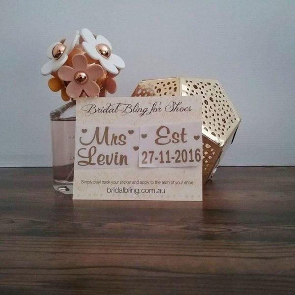 wedding shoe stickers, mrs name shoe stickers, mrs est shoe stickers, personalised shoe stickers Australia