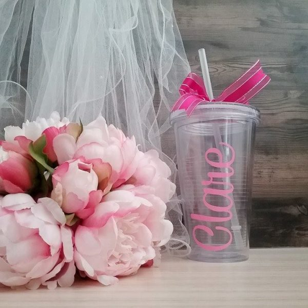bride gift, bride tumblers, bride cup with straw, personalised bride cup with straw, bride drinking cup