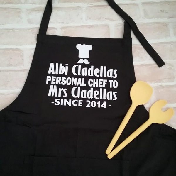 best wedding gift, wedding anniversary gifts for him, personalised chef apron, apron personalised, wedding gift personalised