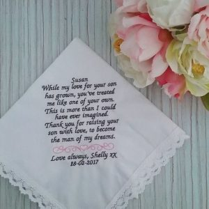 Own Wording Handkerchief, personalised hankies for wedding, handkerchiefs for wedding Australia, Wedding Handkerchief for parents