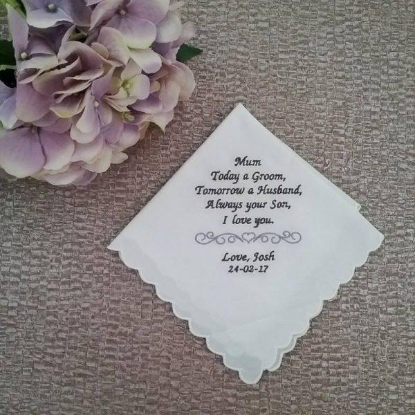 mother of the groom gift, handkerchief embroidered, handkerchief for mother of the groom