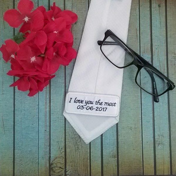 gift for brides father, tie label, personalised tie patch, wedding patch for tie, personalised wedding gifts Australia