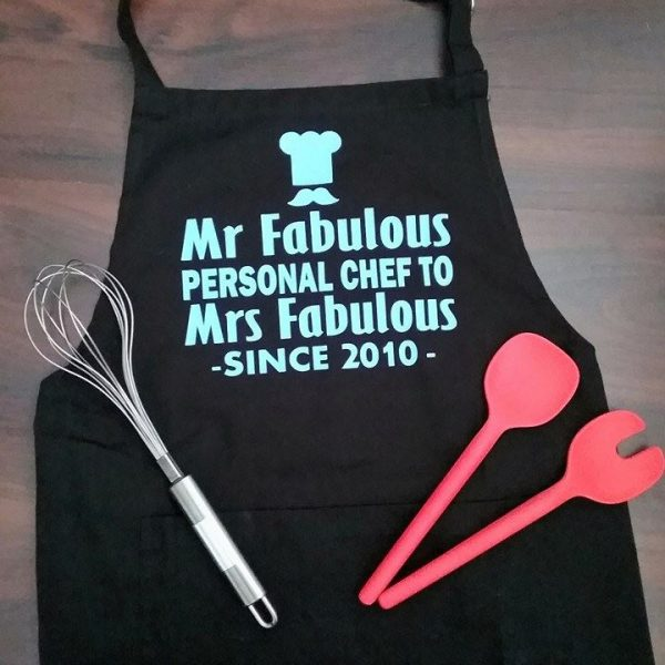 unusual personalised wedding gifts, personalised apron, 2nd anniversary gift, cotton anniversary gift