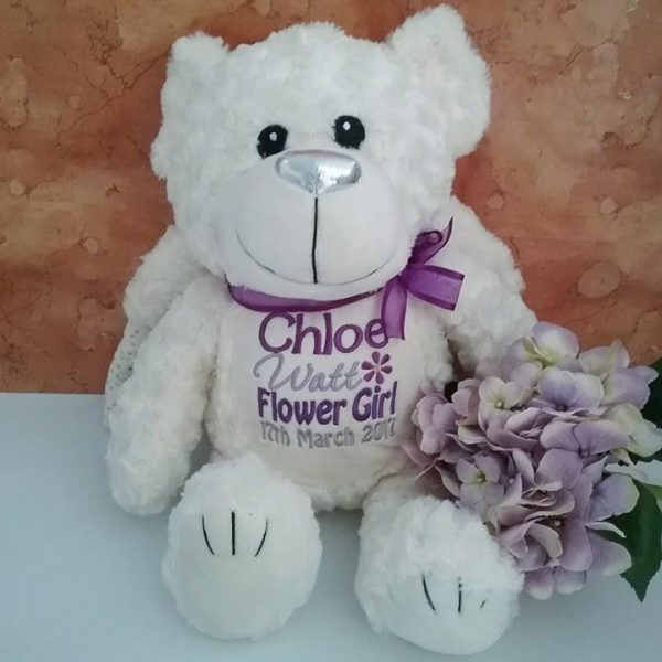 Flowergirl Bear, personalised Flower girl gift, personalised flower girl teddy Bear Australia, Personalised wedding gifts Australia