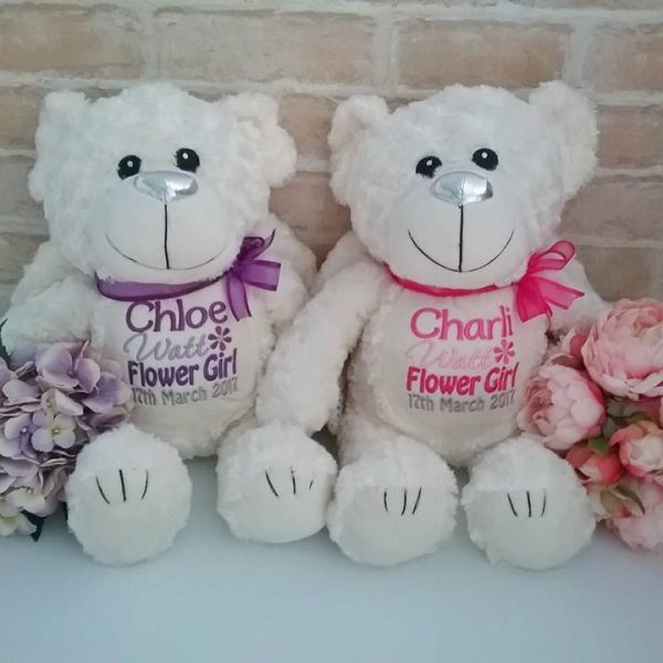 flower girl teddy bear gift personalised, flower girl teddy bears, flower girl gift idea, gift idea for flowergirls,