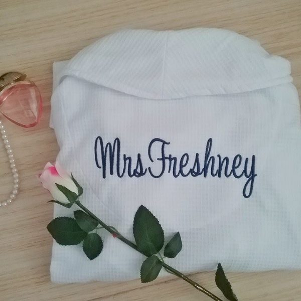 Robe with Mrs Name on Back, embroidered bride robe, custom robes for brides, white waffle bridal robes, wedding robe for bride Australia