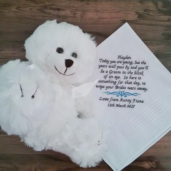 wedding handkerchief for page boy, personalised handkerchief for wedding, childrens wedding handkerchief, embroidered hanky wedding, Ring bearer gift