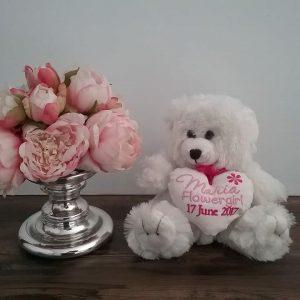 flower girl teddy bear, wedding teddy bear, personalised flower girl gift, wedding teddy bear gift, flower girl teddy