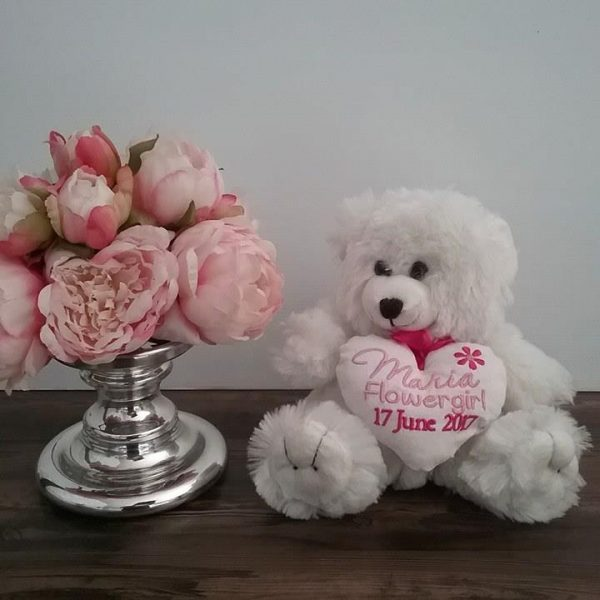 flower girl teddy bear, wedding teddy bear, personalised flower girl gift, wedding teddy bear gift, flower girl teddy