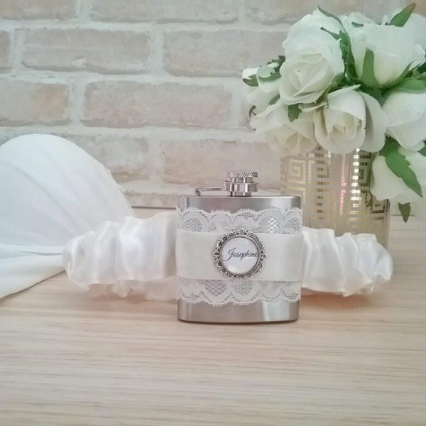 wedding hip flask, BRidesmaid flask garter, Garters Australia, personalised garters