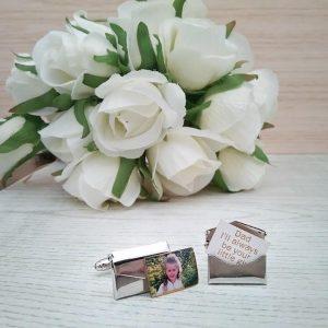 Father of Bride Cufflinks, Brides Father cufflinks, personalised cufflinks wedding, envelop cufflinks, secret message cufflinks, hidden message cufflinks
