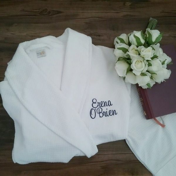 Robe with Name on Pocket, personalised robes, wedding robe for bride, personalised waffle robe, personalised wedding robes Australia