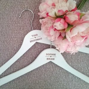 Budget Wedding Coat hanger with engraved, personalised name hanger. Affordable Bridal Party Gift idea, wedding Coat hangers, Bridal Bling Australia