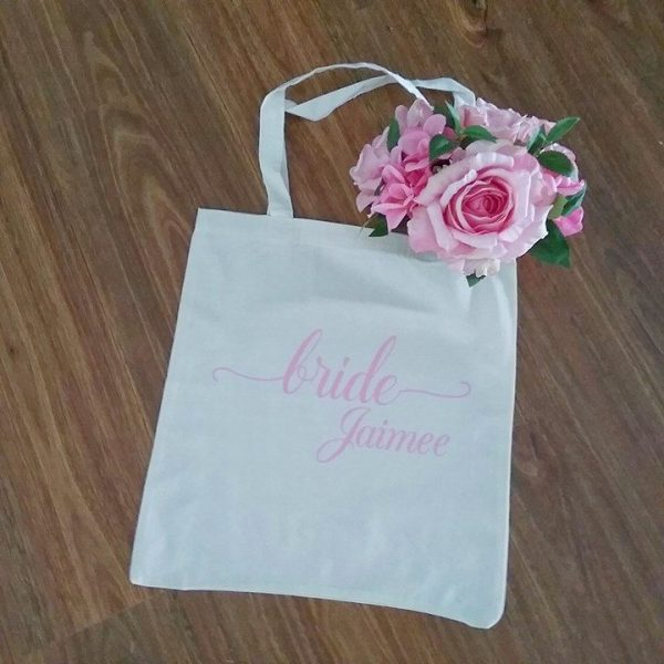 personalised tote, personalised eco friendly shopping bag, bridesmaids gifts Australia