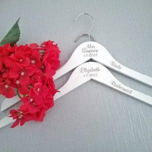 Essential Engraved Hangers, Bridal party coat hangers, Personalised Wedding coat hangers