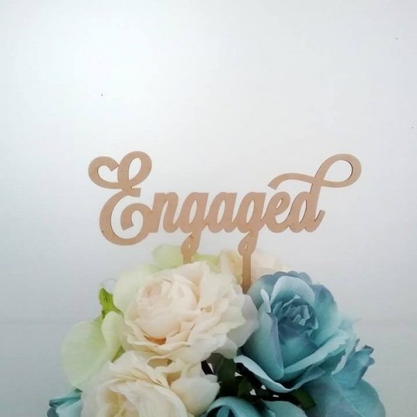 Elegant Engaged Cake Topper, laser cut cake topper, acrylic cake topper, engagement cake topper, wood cake topper for engagement