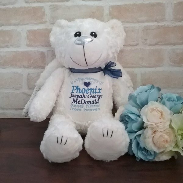 angel teddy bear, personalised angel bear, personalised gifts Australia, embroidered angel bear
