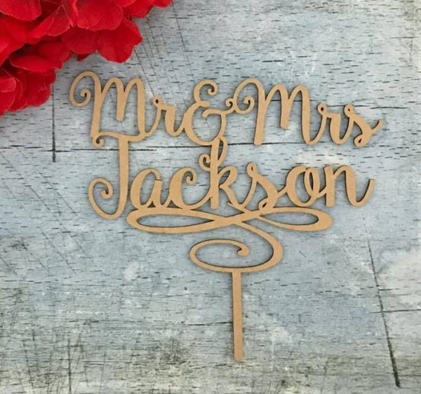 Mr and Mrs Personalised Cake Topper, Swirly Cake Topper, Acrylic cake topper, gold cake topper, custom wedding cake toppers Australia