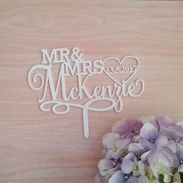 Mr Mrs Elegant with date Cake Topper, cake toppers for weddings, personalised wedding cake topper au, personalised wedding cake toppers Australia
