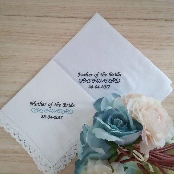 wedding hankies, embroidered wedding handkerchiefs, handkerchiefs for wedding, Father of the bride gift, father of the groom gift