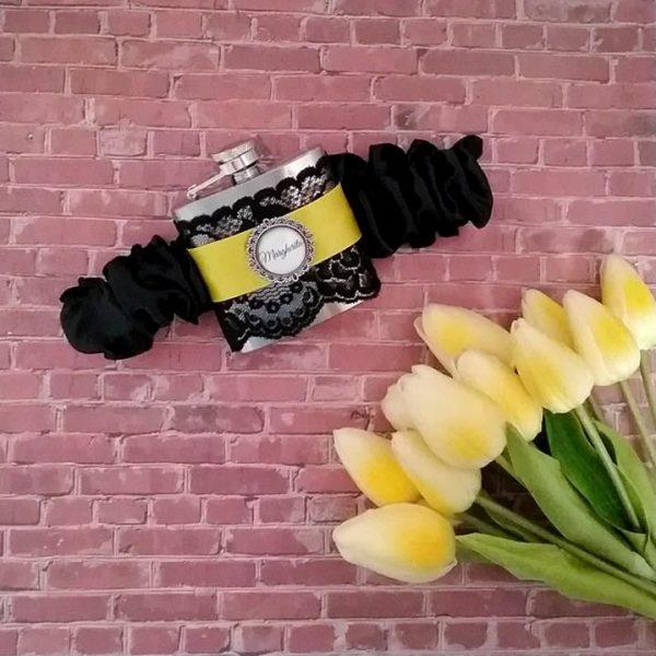 wedding flask, personalised wedding hip flasks. personalised garter flasks