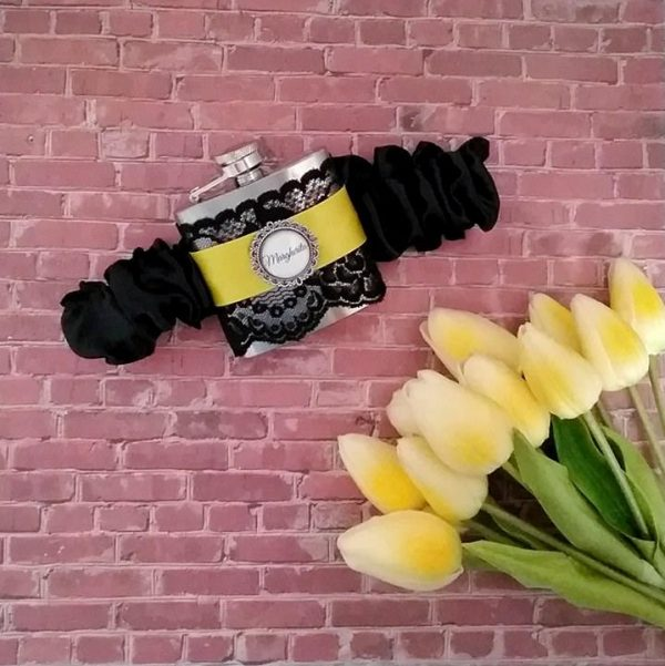 wedding flask, personalised wedding hip flasks. personalised garter flasks