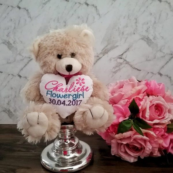 flowergirl gift idea, flower girl teddy bear, wedding teddy bear, bridal teddy bear Australia