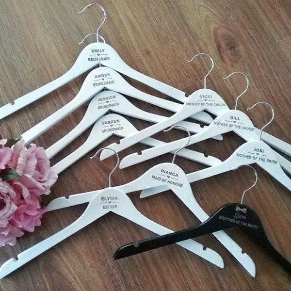 personalised wedding gifts, wedding party gifts, wedding personalised gifts, personalised bridesmaid hangers, wedding coat hangers