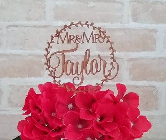 Abstract Circle Cake Topper, personalised name cake toppers, personalised bride and groom cake toppers, cake topper personalised for wedding