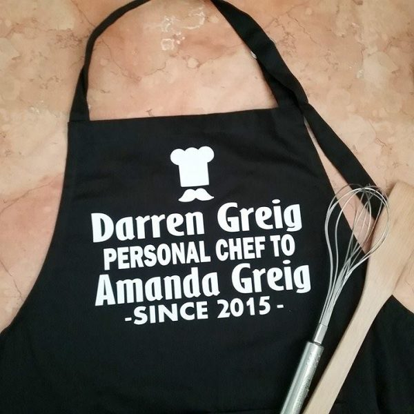 wedding personalised gifts, personalised chef gift, personalised gift for him, cotton anniversary gift, novelty personalised gift for him