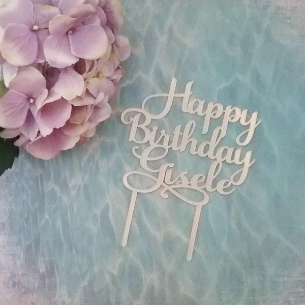 custom name cake topper, gold personalised cake topper, custom happy birthday cake topper