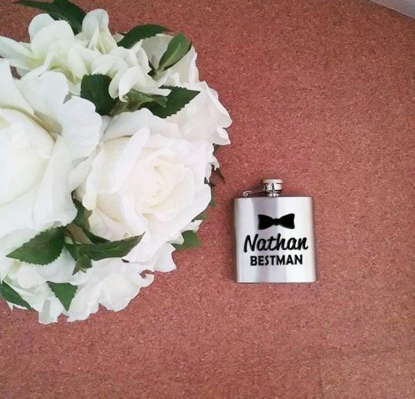 stainless steel flask, custom hip flask,  wedding gifts Australia, all things bridal