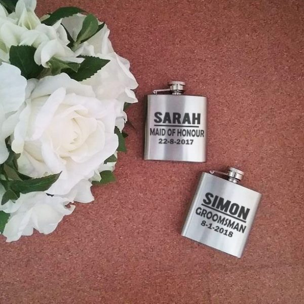 bridal party gifts, personalised flasks, all things bridal, presents for groom