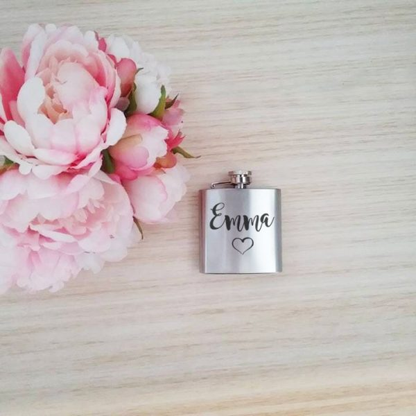 Stylish Ladies Hip Flask, personalised wedding gifts for bridesmaid, wedding hip flask, bride hip flask Australia, 3oz hip flask