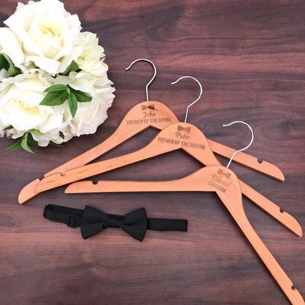 wedding hangers with name and title, gifts for groom, groomsman gift, wedding coat hangers, bridal party gift ideas, engraved coat hangers