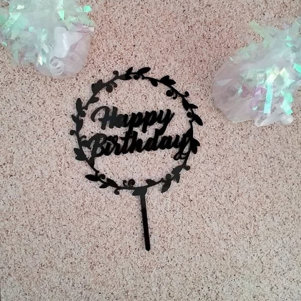 Happy Birthday Wreath Cake Topper, black cake topper, acrylic Birthday cake topper, white birthday cake topper, cake topper birthday Australia