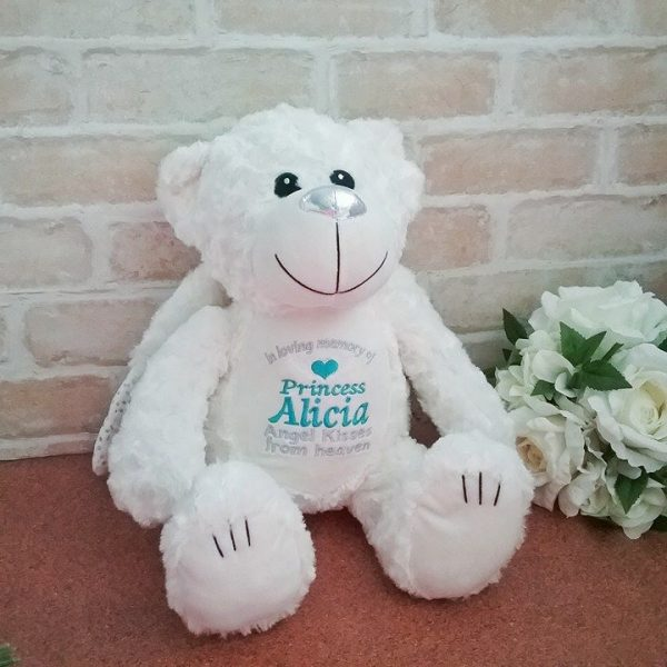 personalised angel bear, embroidered angel bear, in memory gift, remembrance gift for children, child's memorial gift, personalised gifts Australia