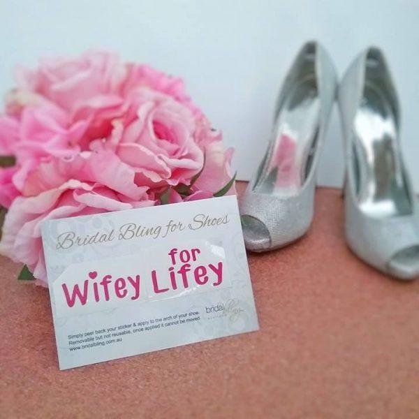 wifey lifey stickers, wedding shoe stickers, bridal shoe stickers, wedding shoe decals, personalised shoe stickers Australia