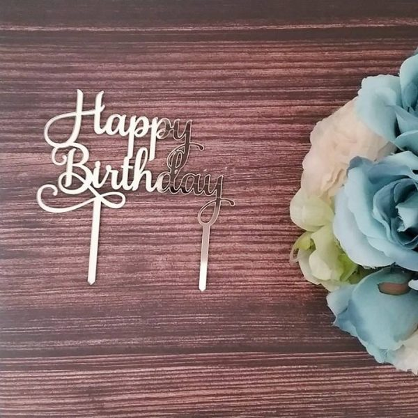 Happy Birthday Cake Topper, fancy Happy birthday cake topper, elegant happy birthday cake topper, elegant birthday cake topper, gold birthday cake topper, custom birthday cake topper Australia