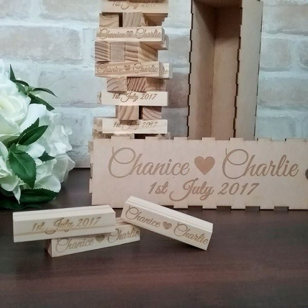 jenga wedding guest book sign, sign a block guest book, wedding signing block, personalised jenga blocks Australia