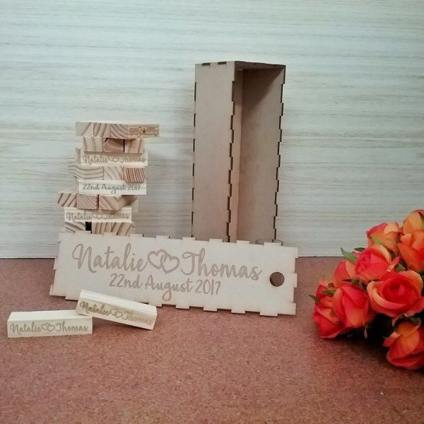wedding guest book jenga blocks, jenga guest book, guest book alternatives, unique wedding guest book alternatives Australia