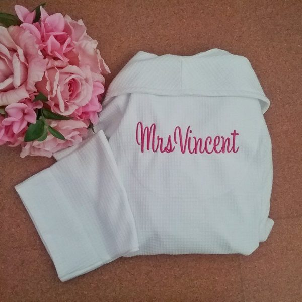 white bride robe, bride and bridesmaid robes, personalised robe for bride, waffle weave robe Australia