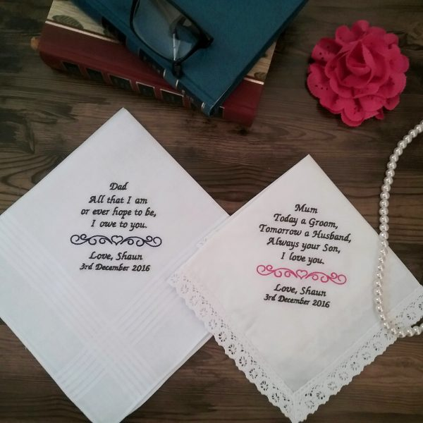 ladies embroidered handkerchiefs, personalised handkerchief for mother of bride, embroidered handkerchiefs for mother of the bride