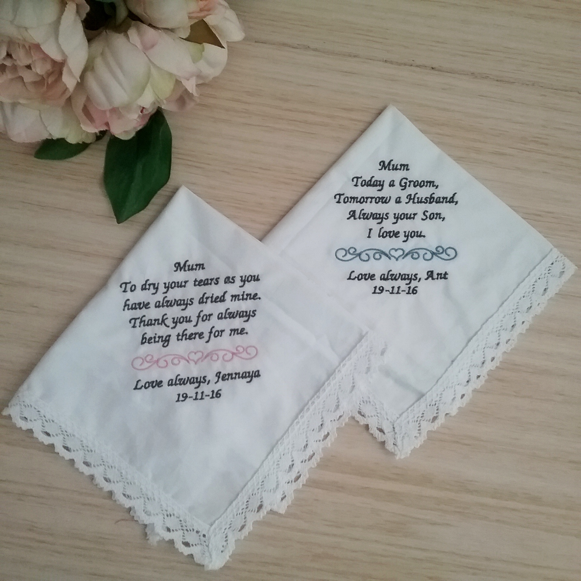 embroidered handkerchiefs for mother of the bride bridal bling