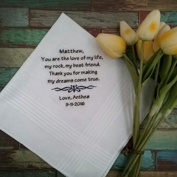 wedding day handkerchiefs, Groom hanky, personalised wedding handkerchiefs,