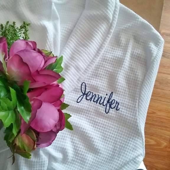personalised bridesmaid robe, bridesmaid gift, personalised robes wedding, bride and bridesmaids robes, personalised waffle robe
