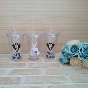 ring bearer gift, flower girl gift, personalised gifts for flower girls and ring bearer, wedding cups with straws Australia