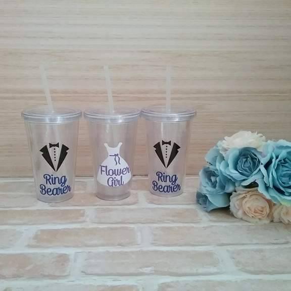 ring bearer gift, flower girl gift, personalised gifts for flower girls and ring bearer, wedding cups with straws Australia