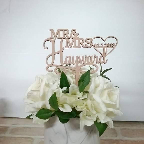 custom wedding coat hangers, Acrylic Gold Mirror Wedding Cake Topper, Personalised Wedding Cake Topper Mr & Mrs Surname