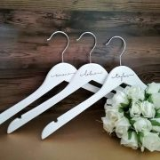 gifts for bridesmaids, budget wedding dress coat hangers, bridesmaid coat hangers, personalised bridesmaid hangers, engraved coat hangers
